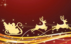 Decorative art of Santa's sleigh pulled by reindeer